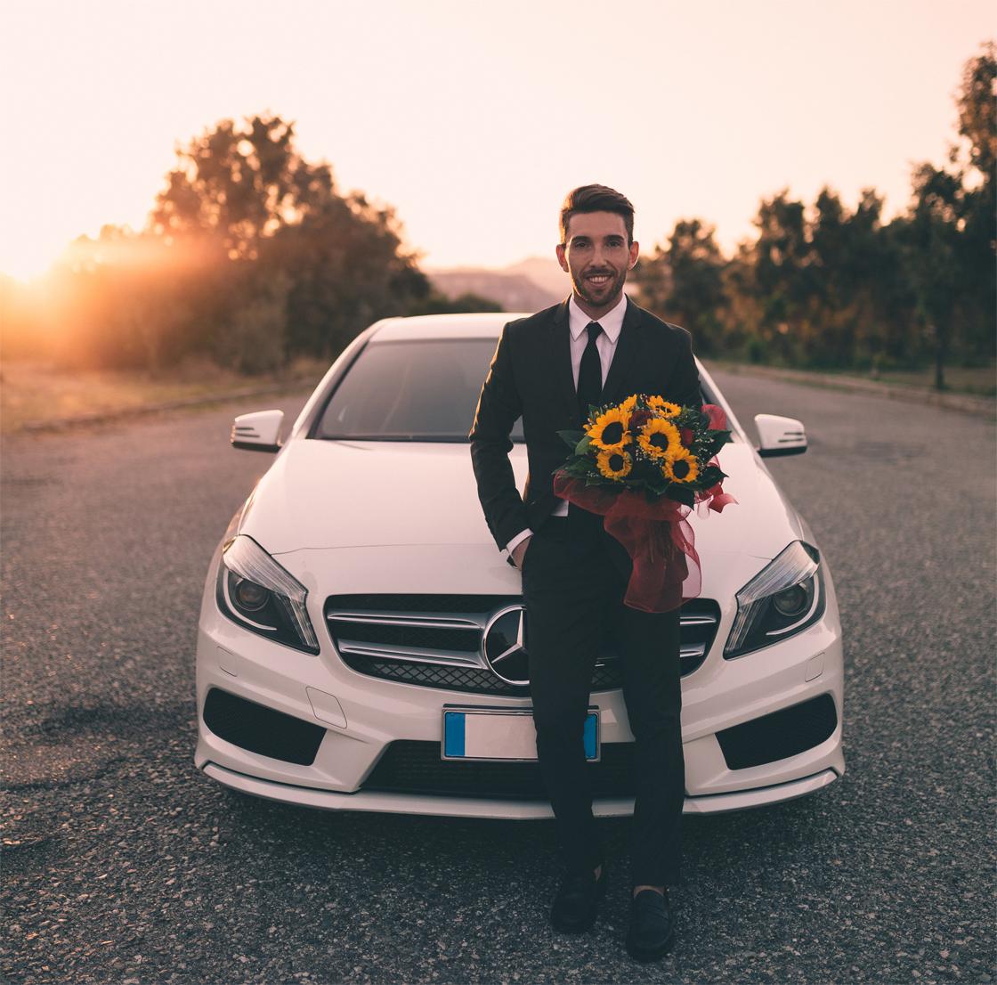gentleman fiori auto mercedes